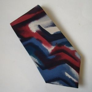 Pierre Cardin Abstract Neck Tie Red Blue Gray